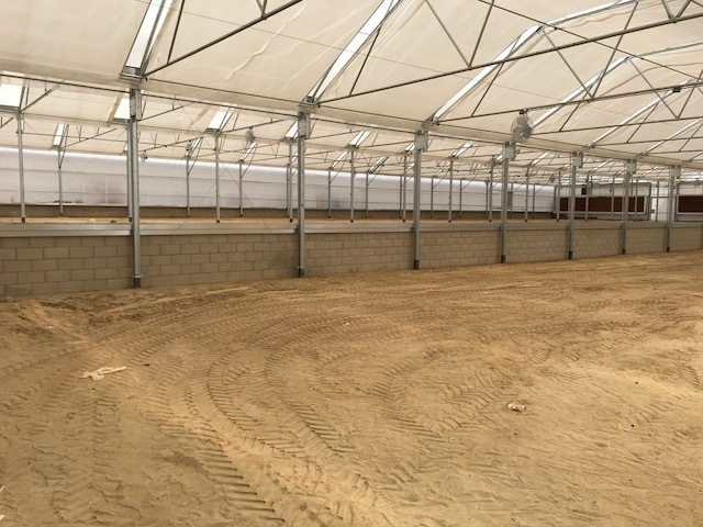 Inside the newly completed greenhouse.
