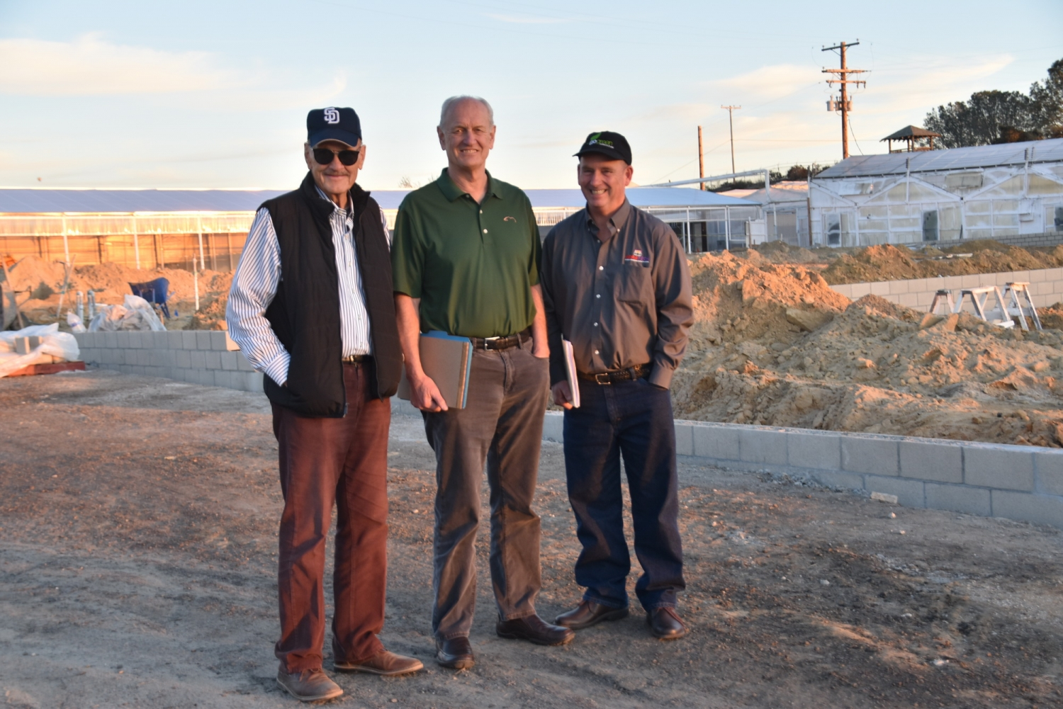 Dempsey Sawyer, John Pound, Jim Bergantz at an early visit to the site.