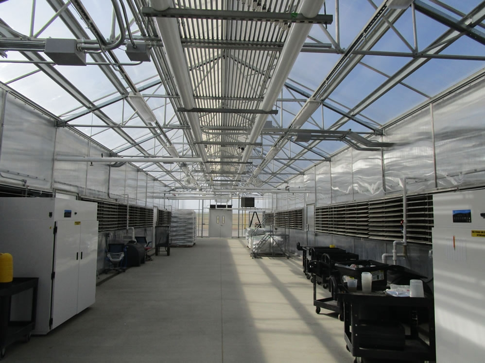 Commercial R & D Greenhouse – HVAC distribution corridor