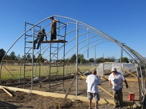 Agra Tech North Slope greenhouse being built by volunteers