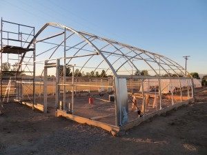 North Slope greenhouse frame all ready for coverings